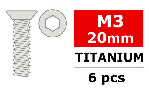 Team Corally - Titanium Screws M3 x 20mm - Hex Flat Head - 6 pcs