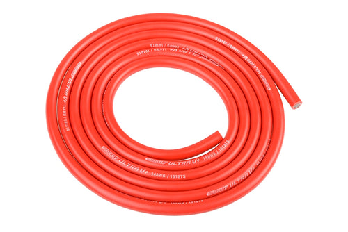 Team Corally - Ultra V+ Silicone Wire - Super Flexible - Red - 14AWG - 1018 / 0.05 Strands - ODø 3.5mm - 1m