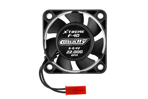Team Corally - ESC Ultra High Speed Cooling Fan 40mm - 6v-8,4V - Dual ball bearings - BEC connector