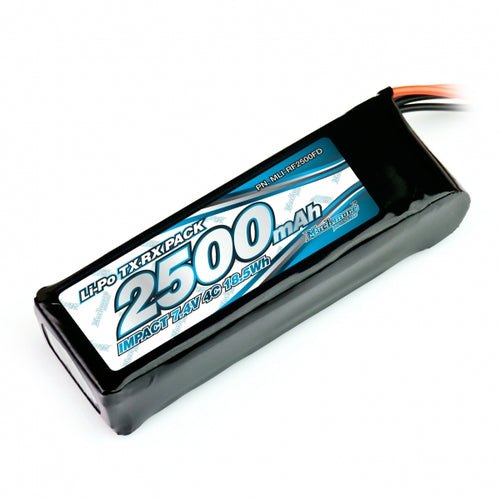 Muchmore IMPACT Li-Po Battery 2500mAh/7.4V 4C Flat Size for Tx &