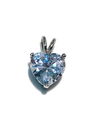Silver Heart Cut Cz Single Stone Pendant; 4.72g