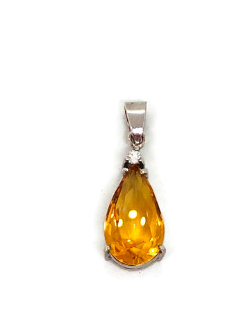 citrine pear shape pendant in silver with cz 0.05ct; 3.43g