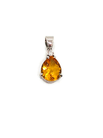 citrine pear shape pendant in silver with cz 0.05ct; 1.934g