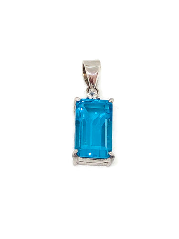 topaz emerald cut pendant in silver with cz 0.05cts; 2.78g