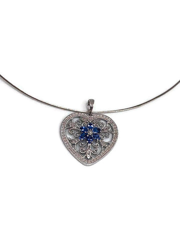 silver choker with sterling silver pendant/cz/tanzanites