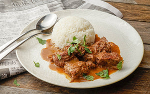 Beef Rendang with Steamed Jasmine Rice and Vegetables