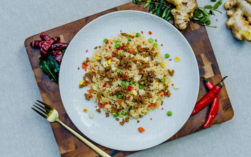 Vegan Fried Rice with Soy Protein Mince