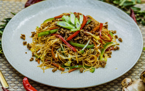 Vegan Fried Rice Noodles with Soy Protein Mince