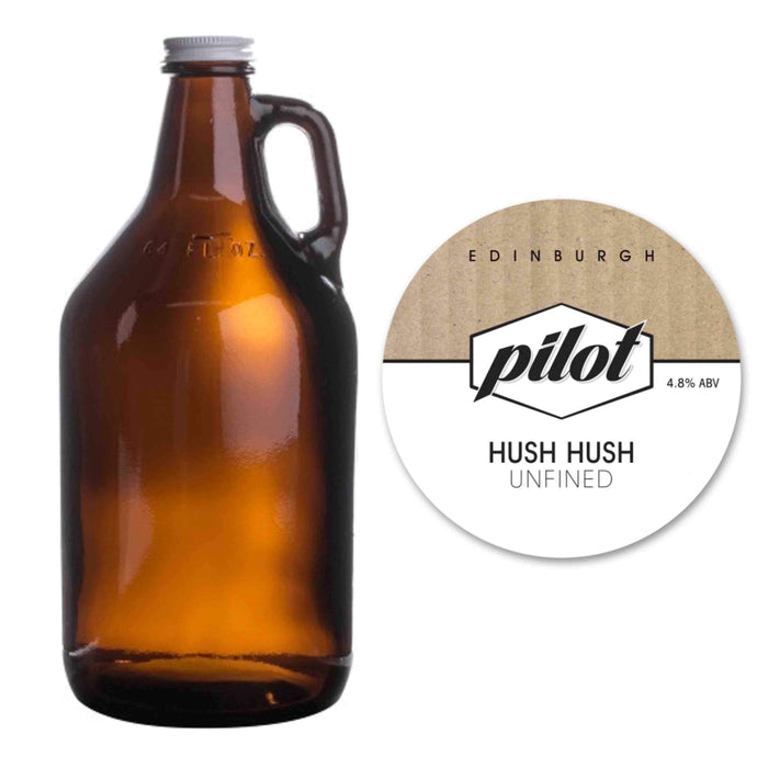 Pilot Beer - Hush Hush Pale Ale (Growler / 3.5 pints) *COLLECTION ONLY - Edinburgh Booze Delivery