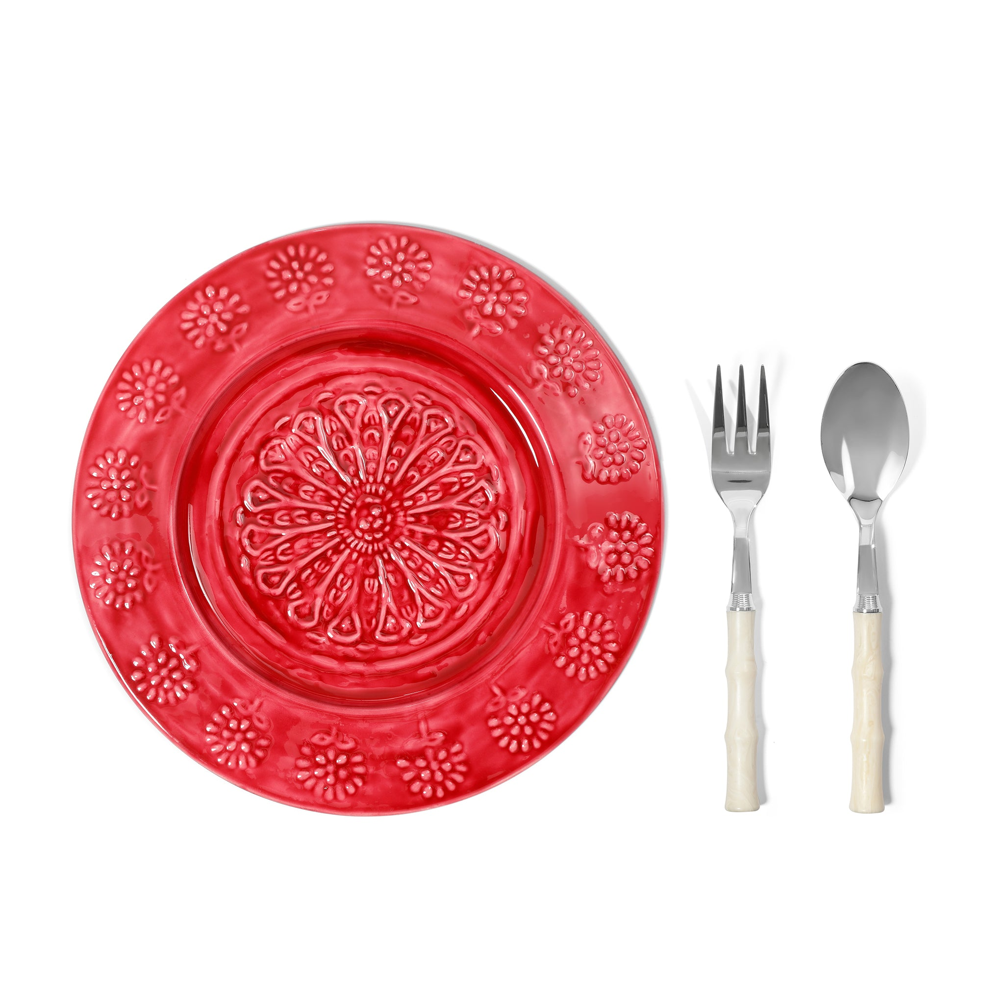 Serving platter, serving spoon & fork
