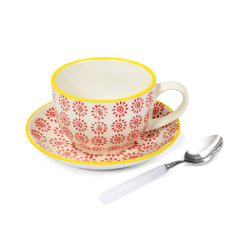 Teacup & saucer, teaspoon