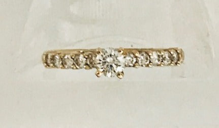 Diamond Ring in 14k  Yellow Carved band