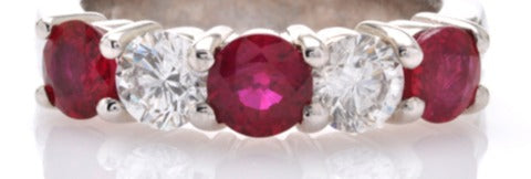 Ruby and Diamond Five Stone Band