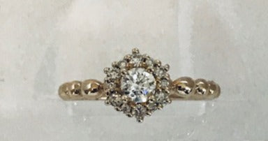 Round Halo Diamond Ring with bead shank