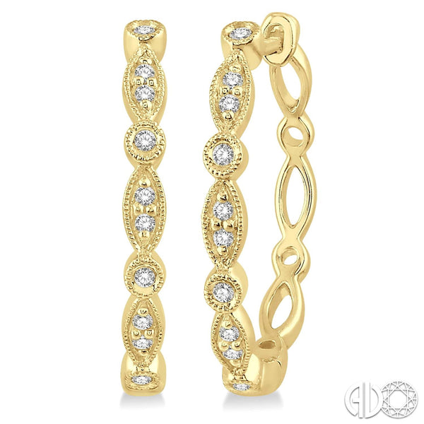 Marquise & Circle Design Diamond hoops