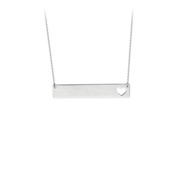 Sterling Bar Necklace with  Heart