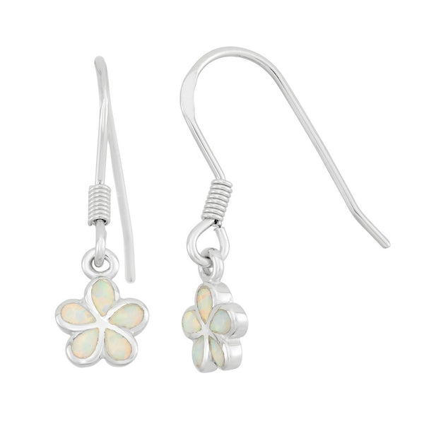 Sterling Silver White Inlay Opal Flower Earrings