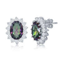 Sterling Silver Oval Rainbow CZ with Clear CZ Border Stud Earrings