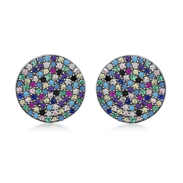 Sterling Silver Round Multi-Color CZ Stud Earrings
