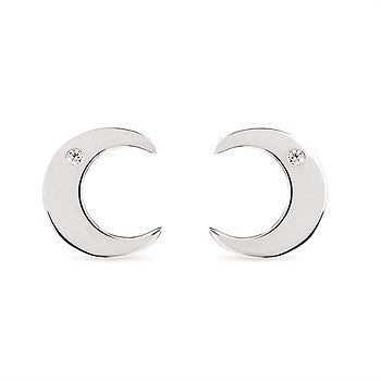 Crescent Earrings In Sterling Silver With .01 Ct. Diamond