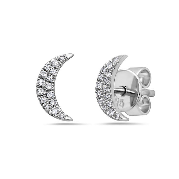 Petite Diamond Crescent Moon Earrings