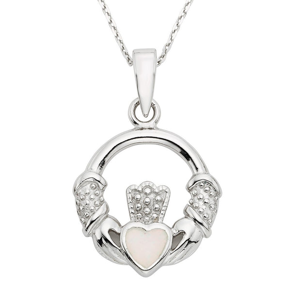 Sterling Silver White Inlay Opal Irish Claddagh Pendant