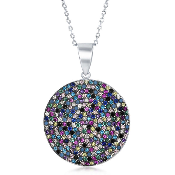 Sterling Silver Round Multi-Color CZ Pendant