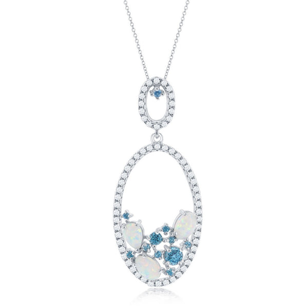 Sterling Silver Double Oval White Opal with Blue and White CZ Pendant