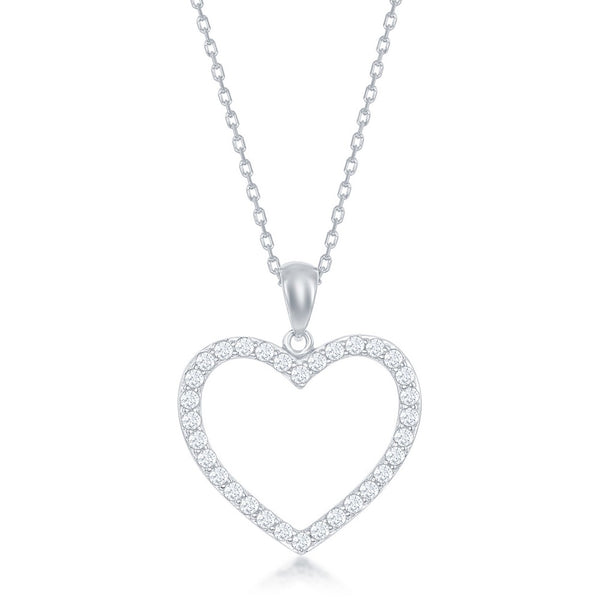 Sterling Silver Open Heart CZ Pendant