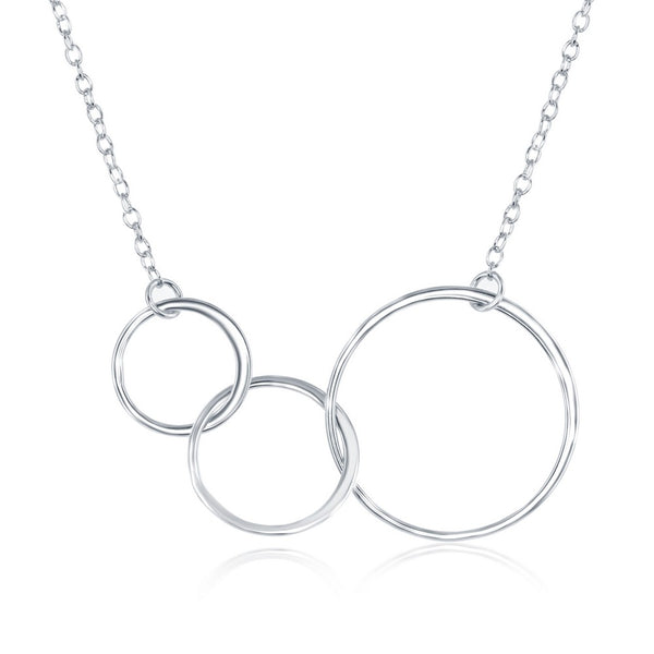 Sterling Silver Interlocking Graduating Three-Generation Open Circle Necklace