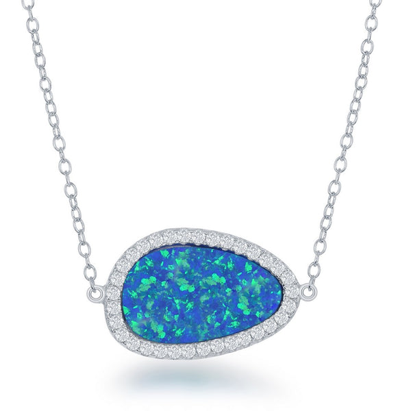 Sterling Silver Blue Inlay Opal with CZ Border Necklace