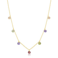 Dangling Rainbow CZ Necklace