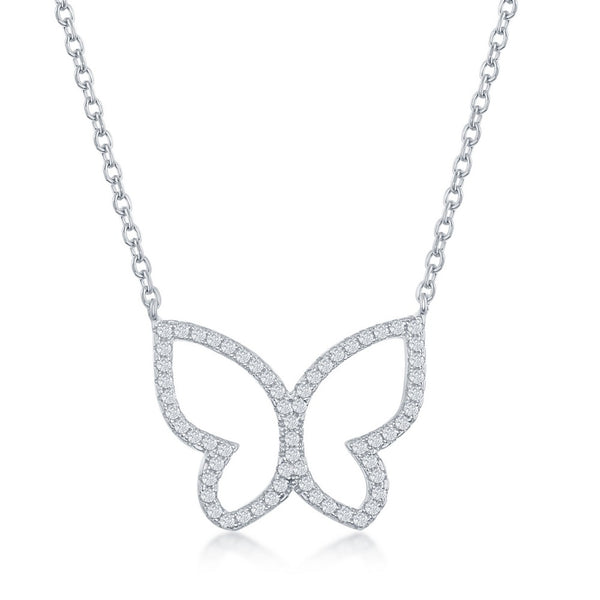 Sterling Silver Open Butterfly CZ Necklace