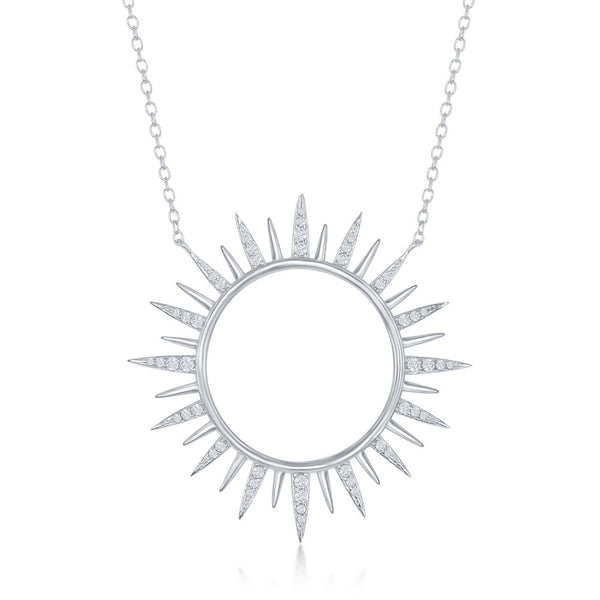 Sterling Silver CZ Sun Necklace