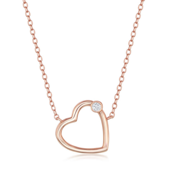 Sterling Silver Heart with Single CZ Necklace - Rose Gold Plated