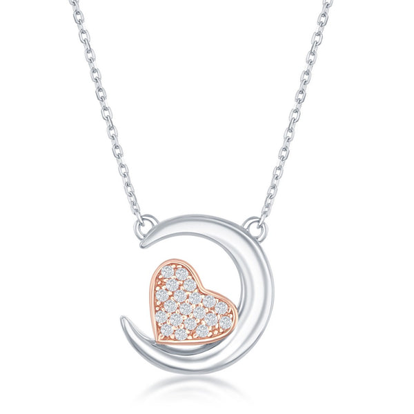 Sterling Silver Crescent Moon with Rose Gold Plated CZ Heart Necklace