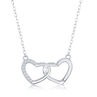 Sterling Silver Interlocking Half CZ Heart Necklace