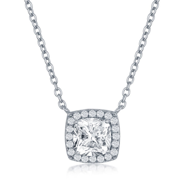 Sterling Cuhion Shape Cubic Zirconia Necklace