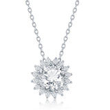 Sterling Silver Round Halo Flower CZ Necklace