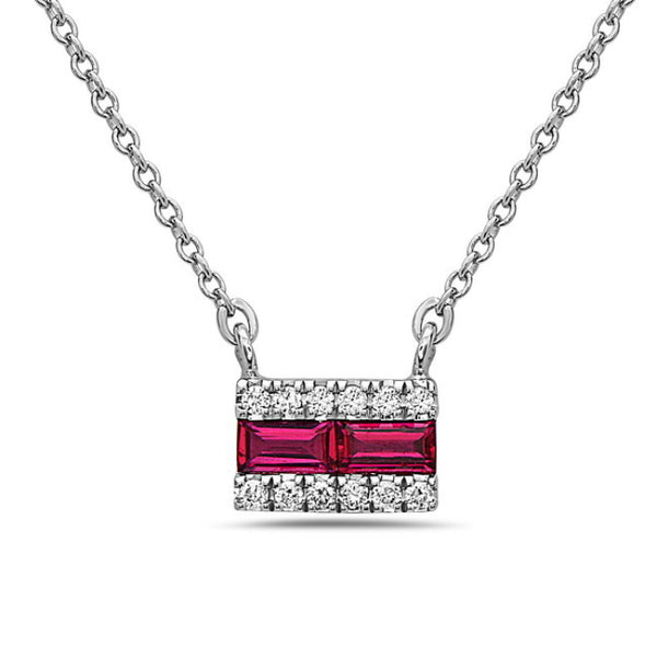 Copy of 14K White Gold Ruby and Diamond Pendant