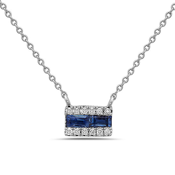 Copy of Copy of 14K White Gold Sapphire and Diamond Pendant