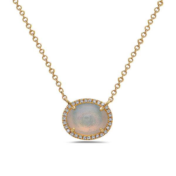 Opal and Diamond Pendant in 14k yellow gold