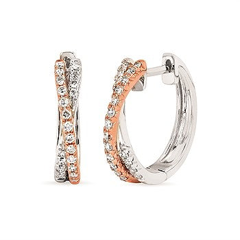 Crisscross Two Tone Diamond Hoops