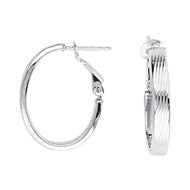 14K White Gold Oval Hoop Earrings