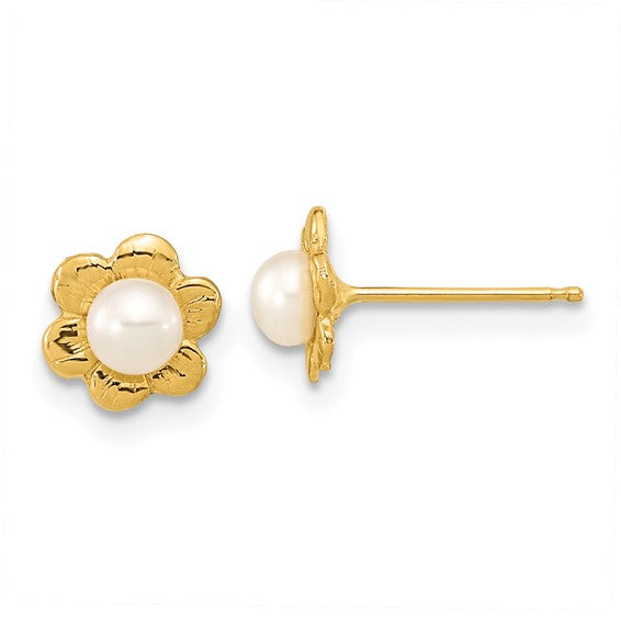 14K Yellow Gold Freshwater Button Pearl and Flower Earring