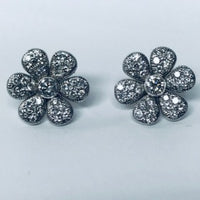 Custom Made Diamond Flower Earrings