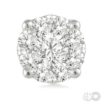 1/3  Ctw  Round Cut Diamond Earrings in 14K White Gold