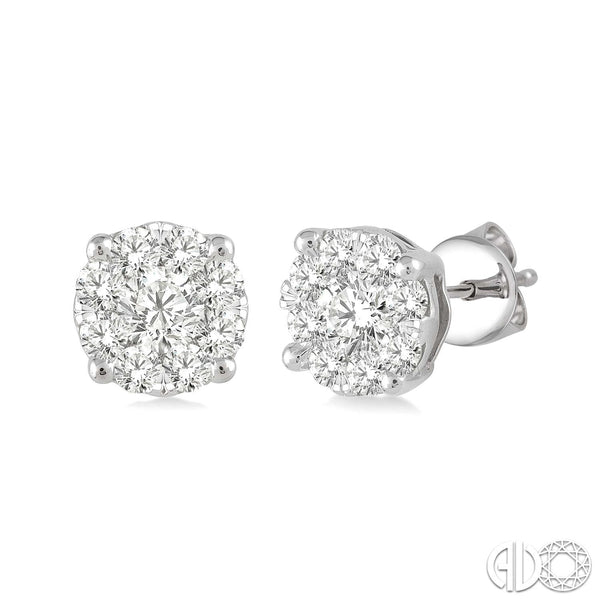 3/4 Ctw  Round Cut Diamond Earrings in 14K White Gold