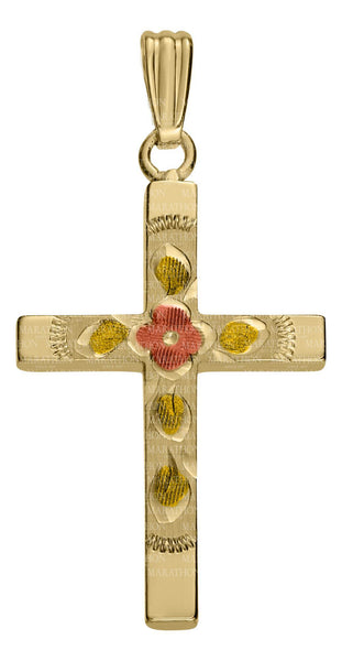 Gold Filled Floral Cross Necklace