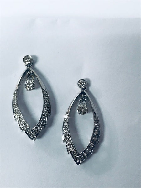 Diamond Dangle Earrings in 14k White Gold